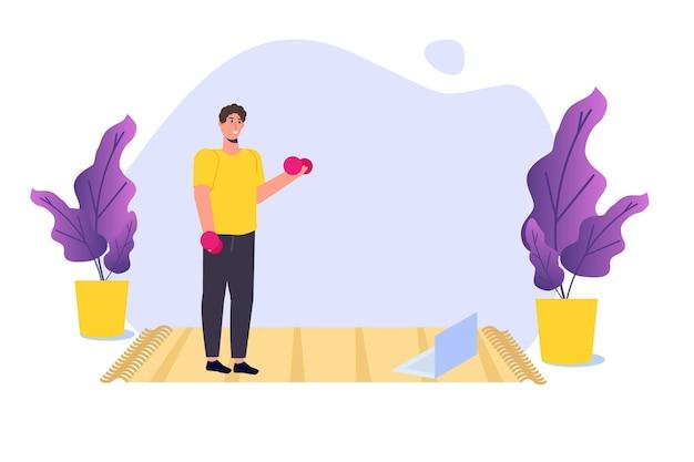 Tutorial de esportes online, estúdios de yoga streaming de conceitos. trabalhar em casa. ilustração vetorial