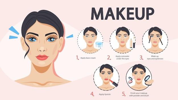 Tutorial de maquiagem facial para mulher. aplicando creme e corretivo