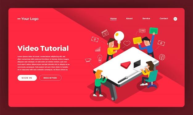 Tutorial em vídeo do conceito do site. ilustração.