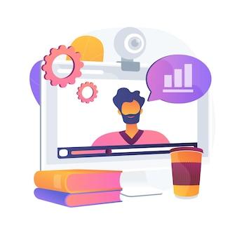 Tutorial em vídeo online de análise de dados. apresentação de estatísticas na internet, curso de desenvolvimento de negócios, webinar. seminário corporativo de análise de negócios.