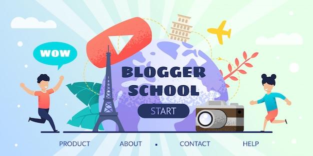 Tutorial on-line da oferta da página de destino da escola do blogger