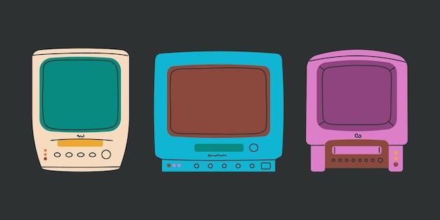 Tv antiga com videocassete tv preto e branco com gravador de vídeo conjunto de elementos retro isolados