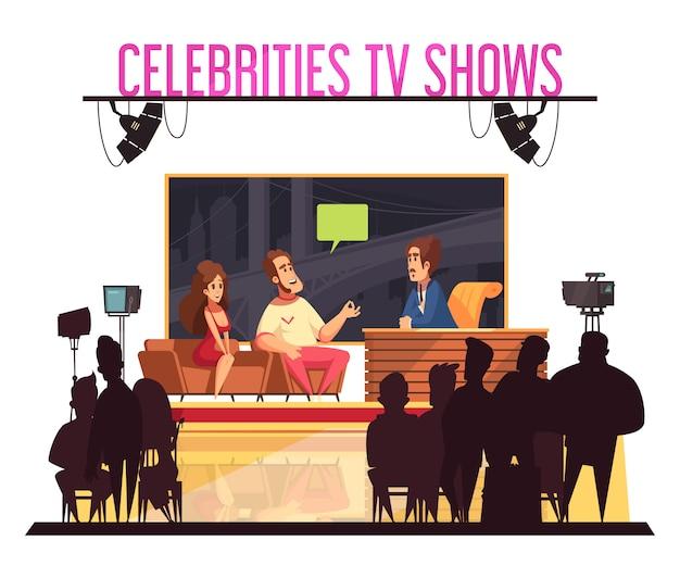 Tv celebridades quiz show com host famoso casal dando respostas câmera operador audiência silhuetas dos desenhos animados