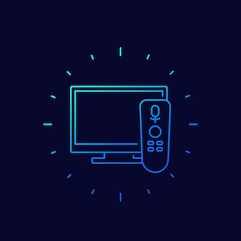 Tv com ícone de controle de voz, linear