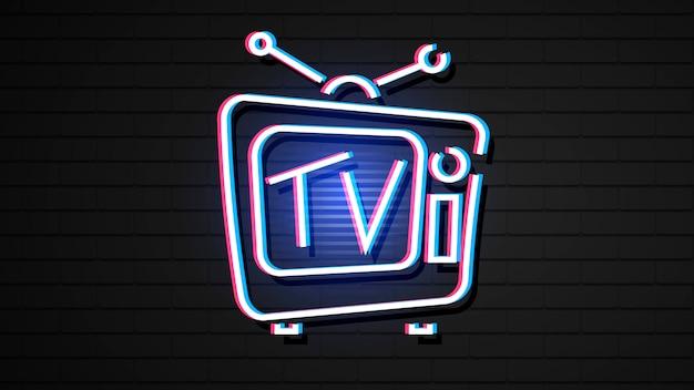 Tv de holograma vintage em estilo de efeito neon.