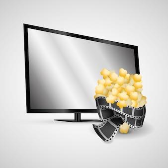 Tv de plasma tira de filme moderno pipoca