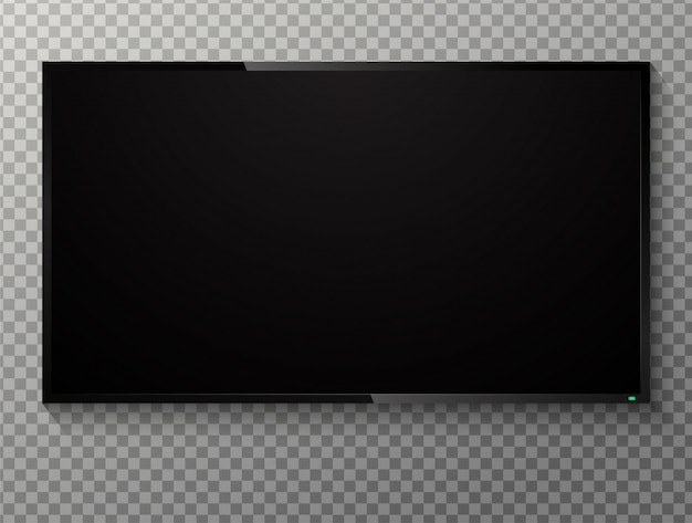 Tv de tela preta em branco realista sobre um fundo transparente.