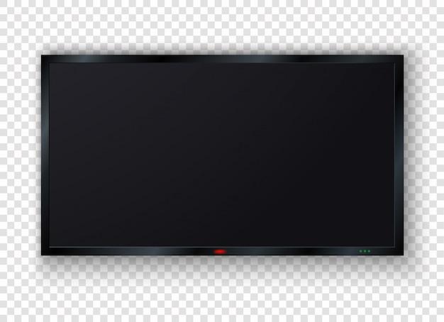 Tv digital, moderna tela lcd em branco, display, painel. tv de plasma preto larga montada na parede isolada no fundo em branco grande monitor de computador.