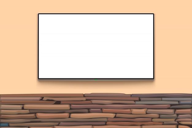 Tv em branco na parede de pedra