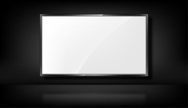 Tv em fundo preto. tela de tv realista. monitor led em branco