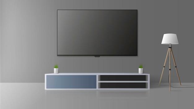 Tv em uma parede cinza. desligue a tv, uma longa mesa de cabeceira no sótão. ilustração.