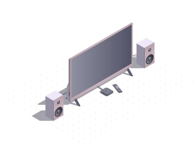Tv inteligente isométrica com alto-falantes estéreo.