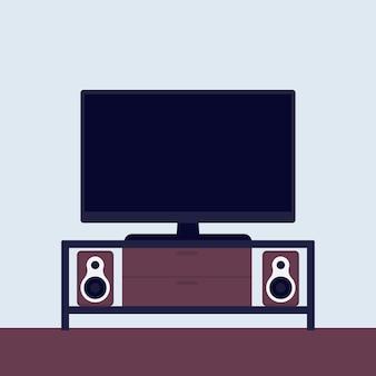 Tv no estande com sistema de áudio, vetor