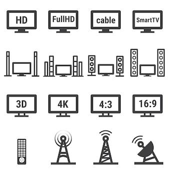 Tv relacionados ao conjunto de ícones do vetor