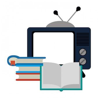 Tv velha e livros empilhados