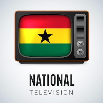 Tv vintage e bandeira de gana como televisão nacional de símbolo