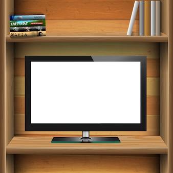 Tv widescreen monitor lcd na prateleira de madeira com livros