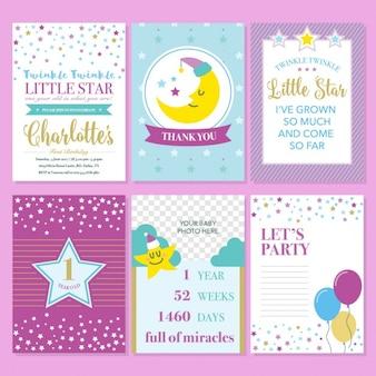 Twinkle twinkle template pouco convite de aniversário de star