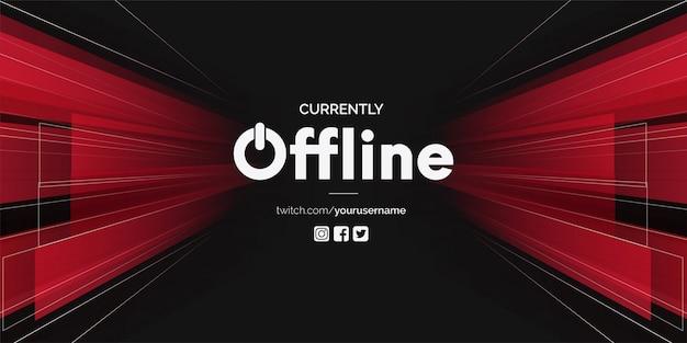 Twitch offline moderno com formas 3d