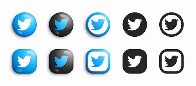 Twitter 3d moderno e conjunto de ícones plana