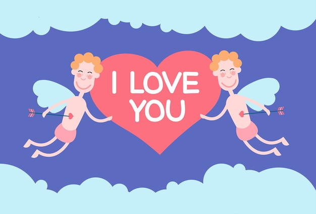 Two valentine's angels flying sky mantenha o coração