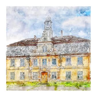 Tynczyk legnicki polônia esboço em aquarela ilustrações desenhadas à mão
