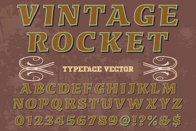 Typeface handcrafted rótulo design vintage foguete