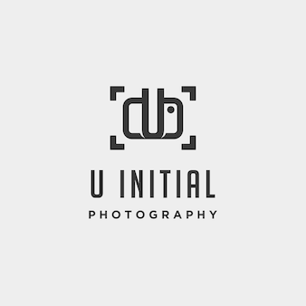 U elemento de ícone de design de vetor de modelo de logotipo de fotografia inicial