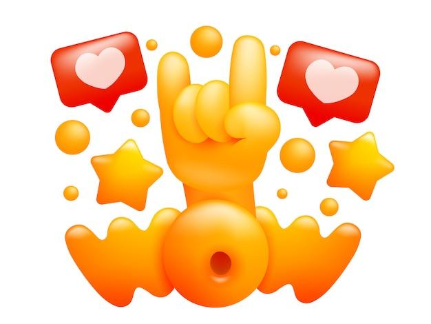 Uau cartão de conceito de título com mão emoji amarelo. estilo dos desenhos animados 3d ilustração