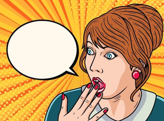 Uau dos desenhos animados do rosto feminino. ilustração de ícone de arte pop