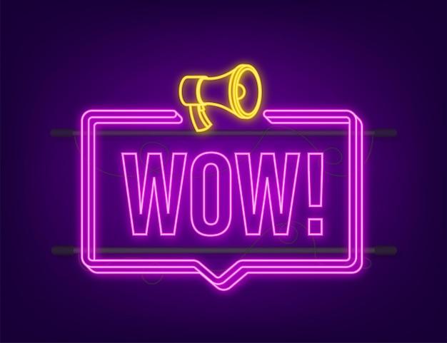Uau megafone neon. ilustração em vetor plana. anuncie a oferta promocional. as pessoas se comunicam.