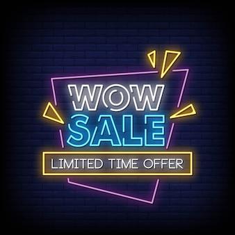 Uau venda sinais de néon estilo texto vetor