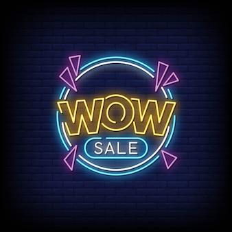 Uau venda sinais de néon estilo texto