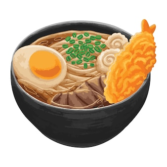 Udon comida japonesa em estilo design plano