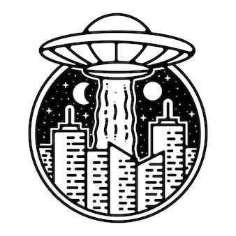 Ufo ataque cidade monoline vintage distintivo ao ar livre design