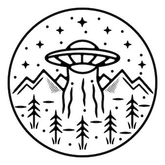 Ufo com design de crachá vintage monoline de montanha