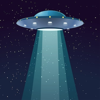 Ufo com luz à noite