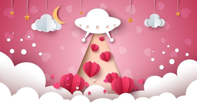 Ufo dos desenhos animados. amor, ilustração de coração.