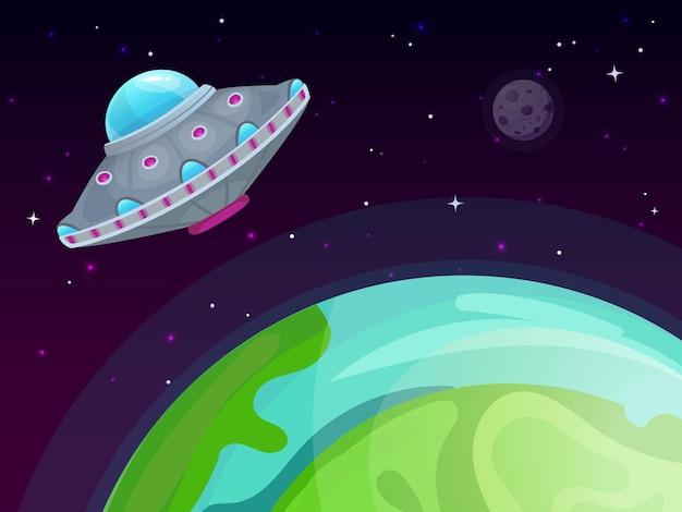 Ufo e ilustração da terra
