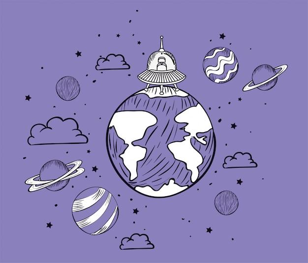 Ufo e planeta desenhar