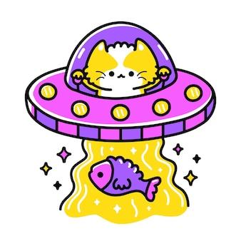 Ufo gato alienígena na arte de abdução de peixe de disco voador para arte de impressão de t-shirt. linha de vetor doodle desenho animado ilustração gráfica logo design. ufo, gato, gatinho, alienígena, disco voador impressão para pôster, conceito de camiseta