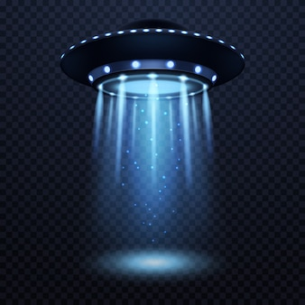 Ufo nave alienígena realista com feixe de luz azul futurista