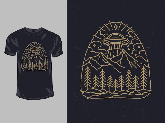 Ufo no céu floresta impressão para design de camisa