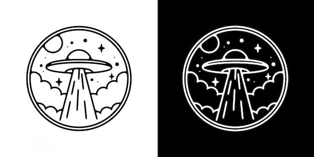 Ufo no design de distintivo de nuvem monoline