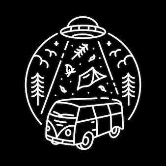 Ufo road trip Vetor Premium