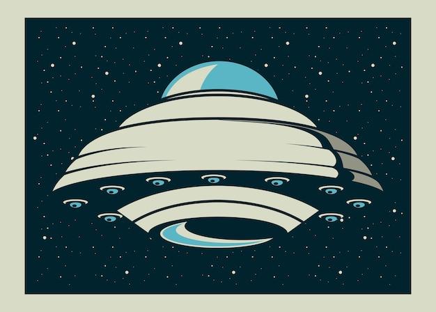 Ufo voando em pôster ilustração estilo vintage
