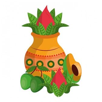 Ugadi festival oferecendo desenhos animados de pote