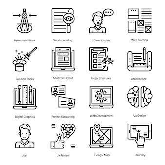 Ui, conjunto de ícones de linha de design ux