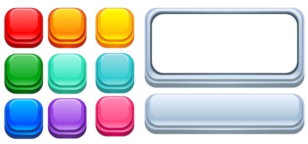 Ui design botões coloridos brilhantes
