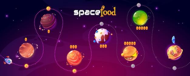 Ui design espaço comida jogo nível mapa